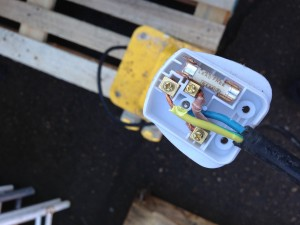 Just another pulled lead on a builders transformer, being used in in a Bank refurbishment in Birmingham