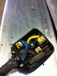 A handy bolt being used instead of a fuse on a weldering machine in  a school